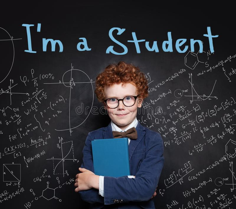 Confident child boy portrait. How to pass exams royalty free stock image