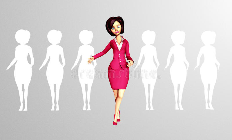 Confident 3D Digital Businesswoman Standing out of the Crowd. Confident, Dynamic 3D Digital Businesswoman steps out from the crowd of faceless, silhouetted stock illustration