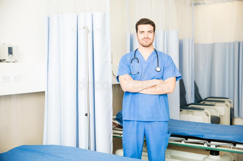 Confident doctor in hospital royalty free stock image