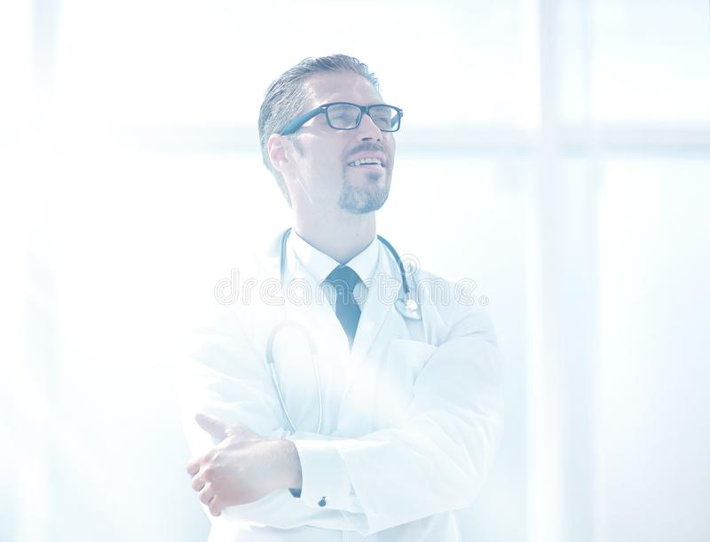 Confident doctor looking at copy space. Photo with copy space royalty free stock image