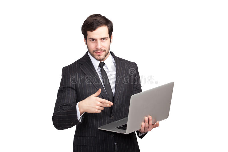 Confident elegant man with a laptop. Elegant man showing his laptop, isolated stock photos
