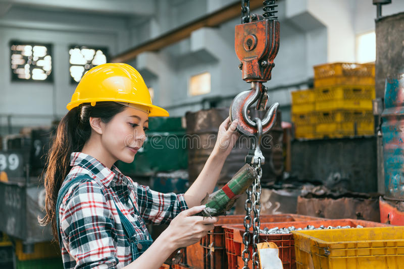 Confident elegant milling machine factory worker royalty free stock photos