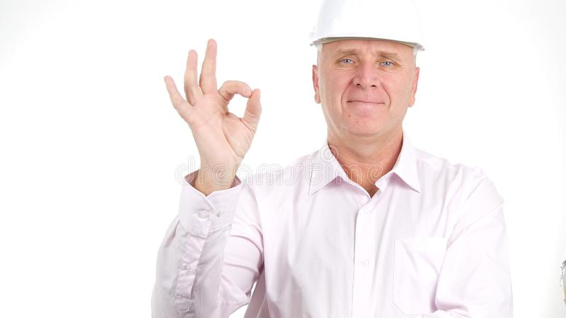Confident Engineer Make Good Job Sign with a Hand Gestures royalty free stock images