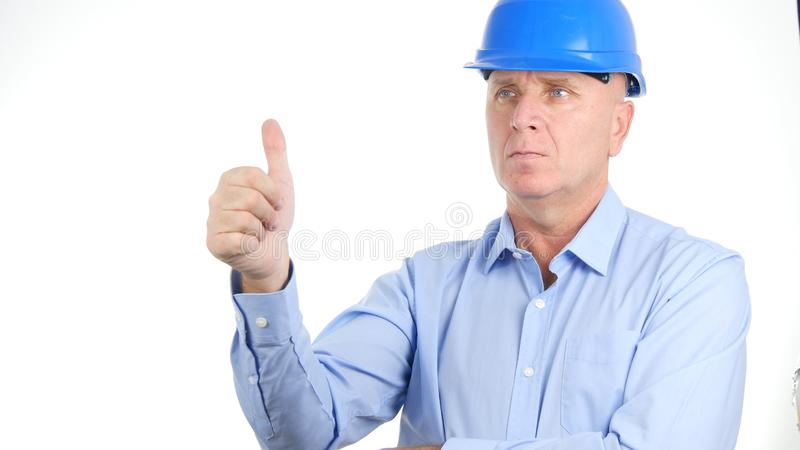 Confident Engineer Thumbs Up Making a Good Job Hand Gestures stock photos
