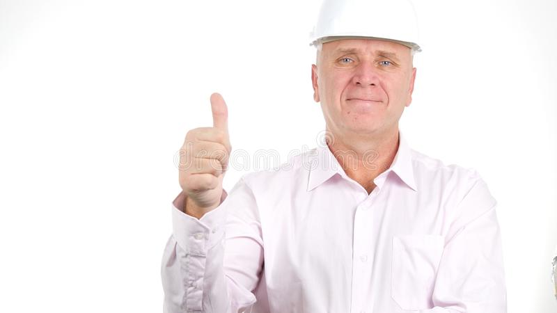 Confident Engineer Thumbs Up Making a Good Job Hand Gestures stock photo