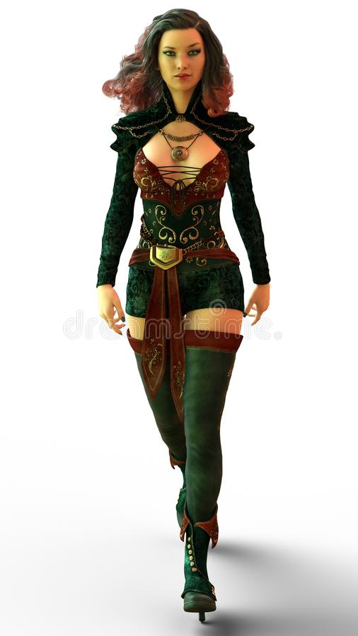Confident Fantasy Woman Walking. A confident fantasy woman going for a stroll in her finest clothes stock illustration
