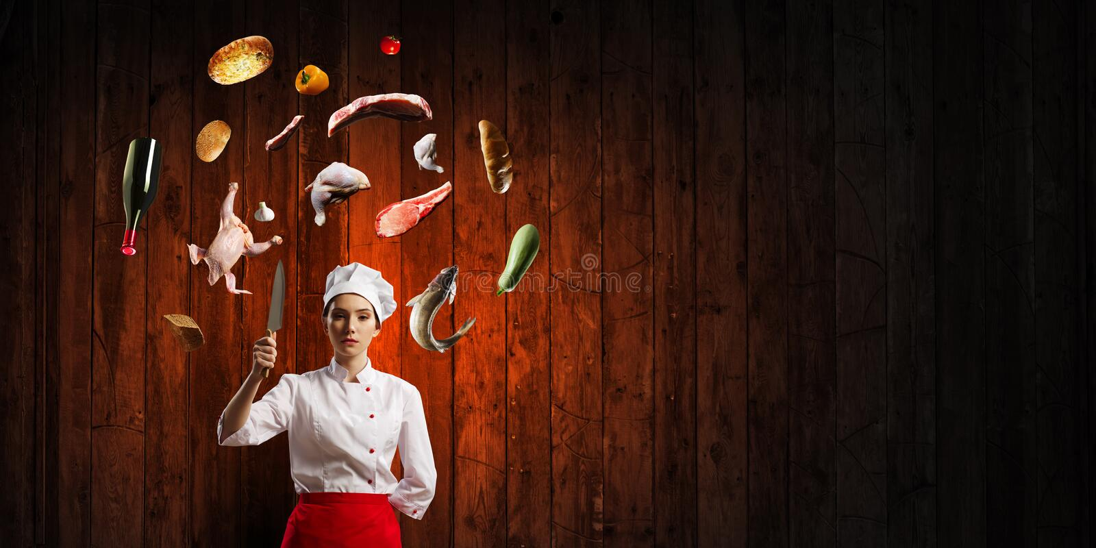 He is crazy about cooking. Mixed media stock photos