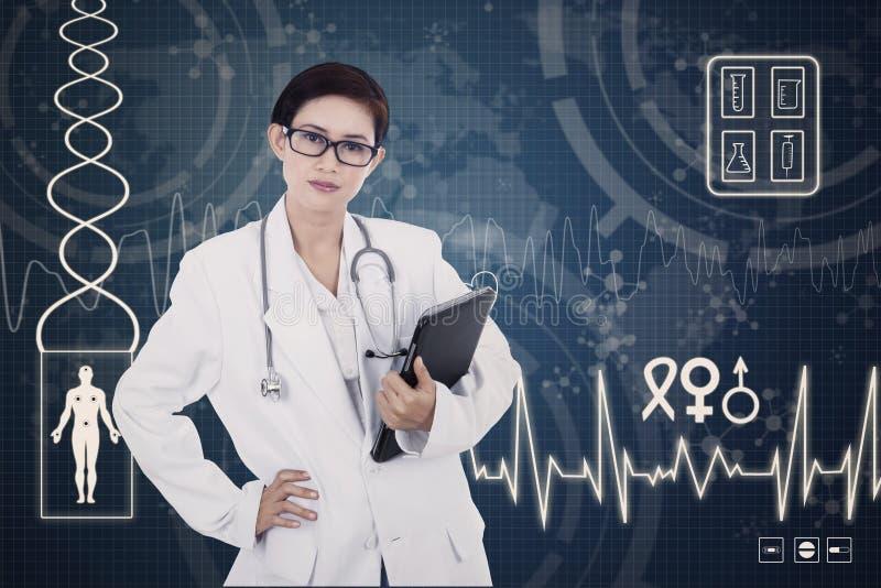 Confident female doctor on digital background. Confident female doctor holding tablet on blue digital background royalty free illustration