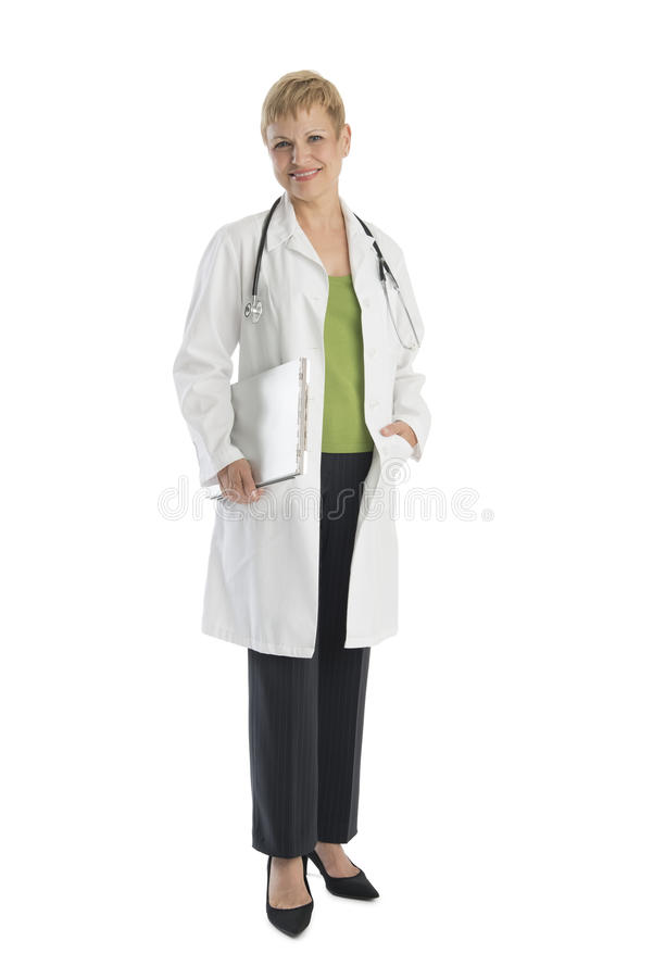 Confident Female Doctor Holding Clipboard royalty free stock image