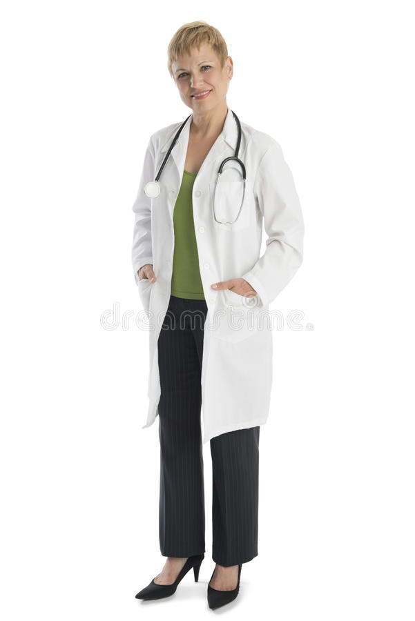Confident Female Doctor Standing Over White Background stock photos