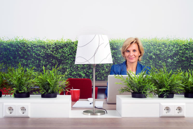 Confident Female Environmentalist In Office. Portrait of confident female environmentalist sitting at desk in office royalty free stock photo
