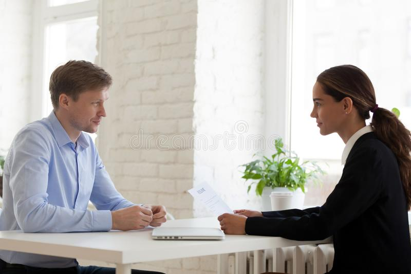 Confident female mixed race hr manager conducting job interview. stock photos