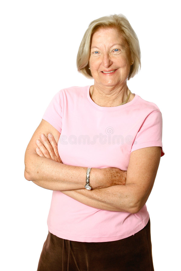 Confident female senior stock images