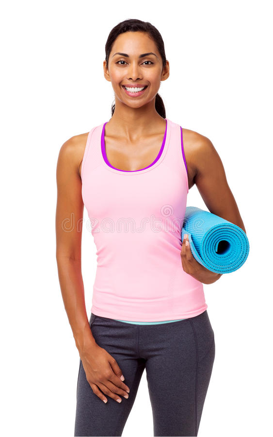 Confident Fit Woman With Exercise Mat royalty free stock image