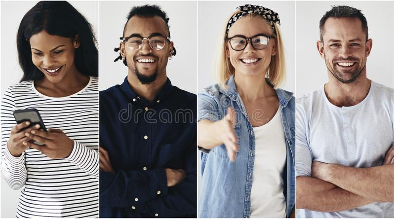 Confident group of diverse young entrepreneurs smiling royalty free stock image