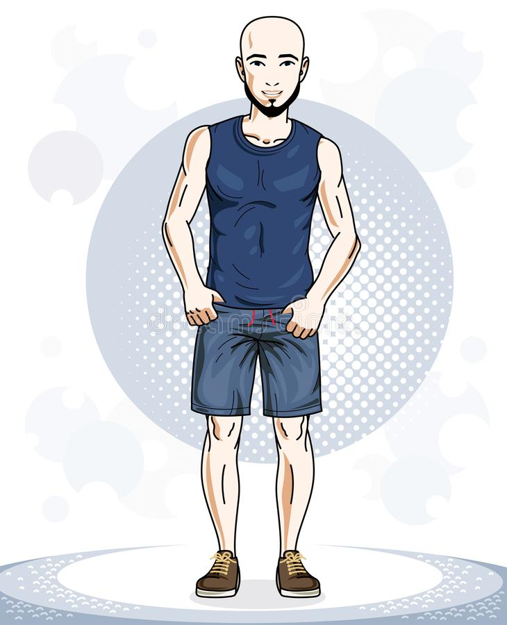 Confident handsome bald young sporty man standing. Vector illustration of male with beard and wearing sport clothes, sport style. royalty free illustration