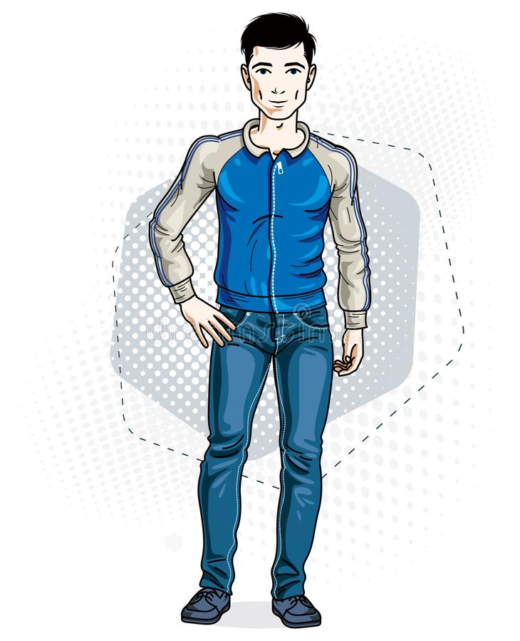 Confident handsome brunet young man standing. Vector illustration of male wearing casual clothes, jeans pants and jacket. Confident handsome brunet young man royalty free illustration