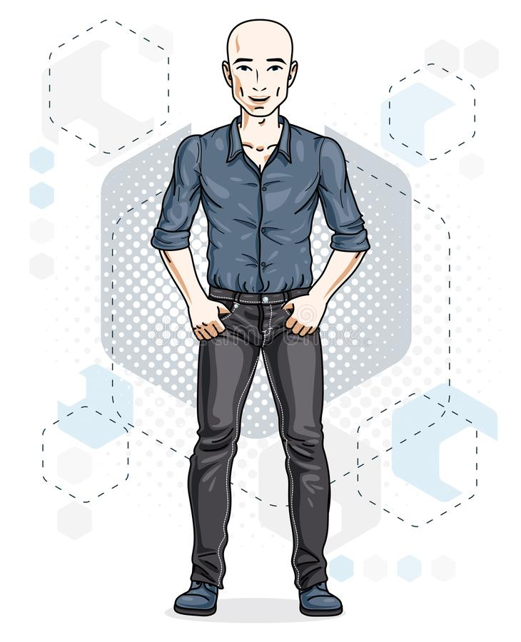 Confident handsome hairless young man standing. Vector illustration of male wearing casual clothes, jeans pants and cotton shirt. stock illustration