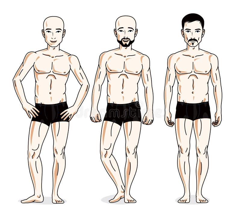 Confident handsome men group standing in black underwear. Vector. Diversity people illustrations set royalty free illustration