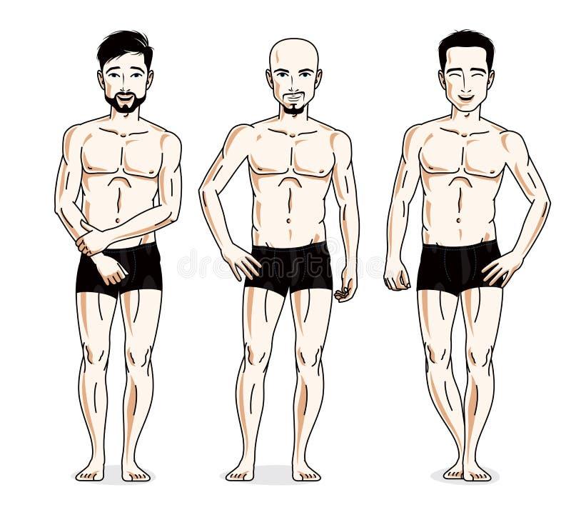 Confident handsome men group standing in black underwear. Vector. Diversity people illustrations set stock illustration