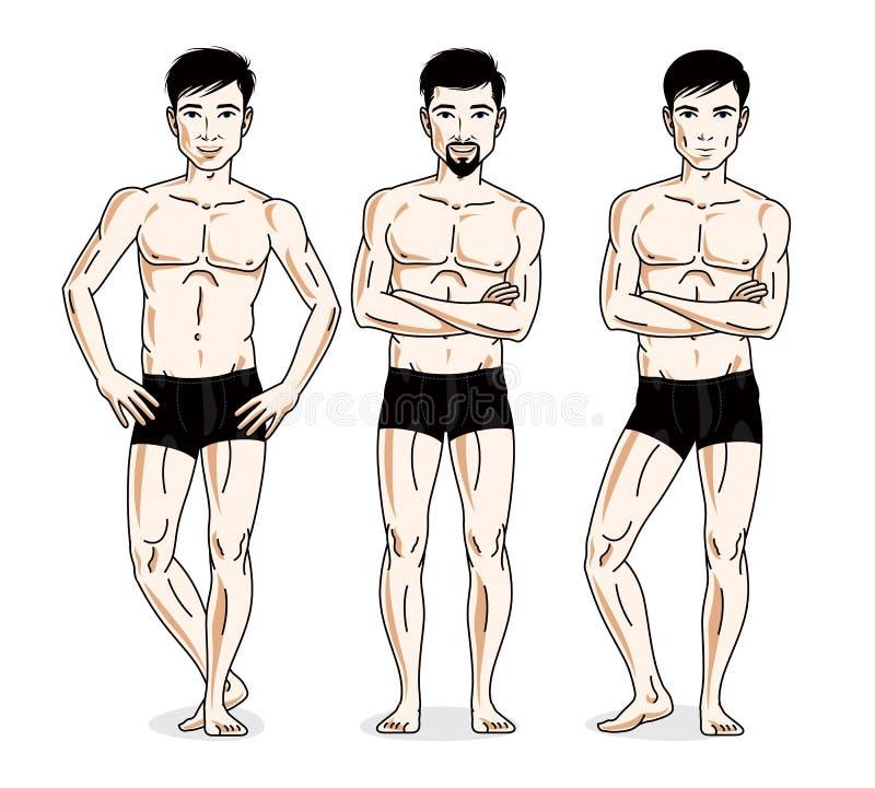 Confident handsome men group standing in black underwear. Vector. Diversity people illustrations set vector illustration