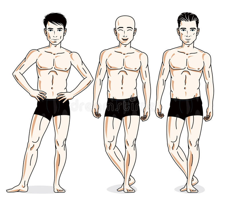 Confident handsome men group standing in black underwear. Vector. Diversity people illustrations set. Athletic man with perfect body royalty free illustration