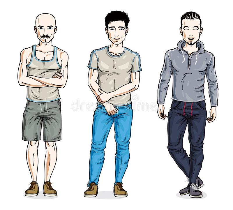 Confident handsome men group standing in stylish sportswear. Vector people illustrations set. Lifestyle theme male characters. stock illustration