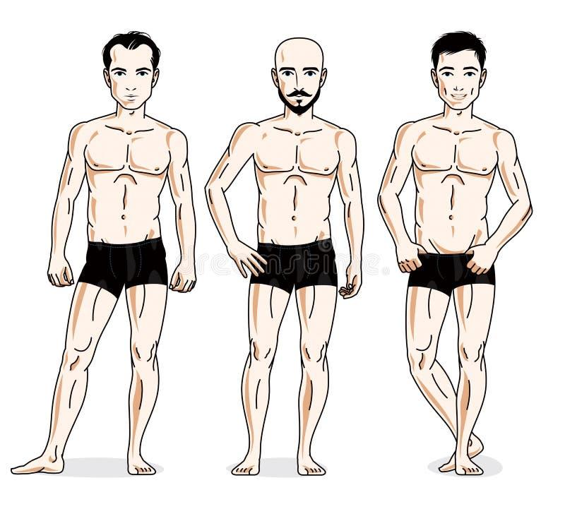 Confident handsome men posing in black underwear. Vector people. Illustrations set royalty free illustration