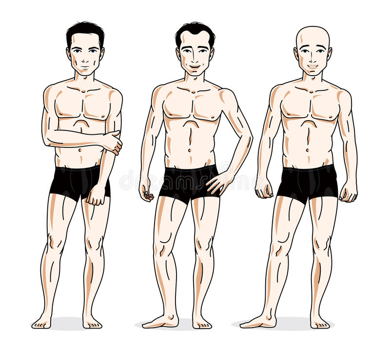 Confident handsome men posing in black underwear. Vector people. Illustrations set vector illustration
