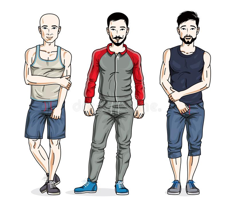 Confident handsome men posing in stylish sportswear, sportsman a. Nd fitness people. Vector set of beautiful people illustrations. Lifestyle theme male vector illustration
