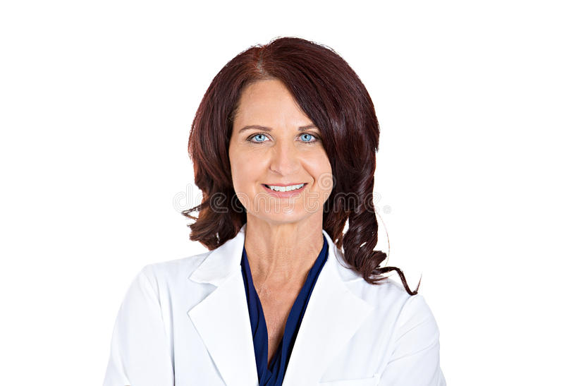 Confident happy smiling female doctor pharmacist stock photography