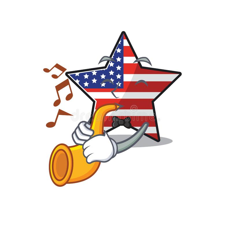 Confident happy usa star character with trumpet mascot. Vector illustration vector illustration