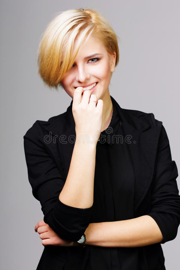 Confident happy young woman stock photo