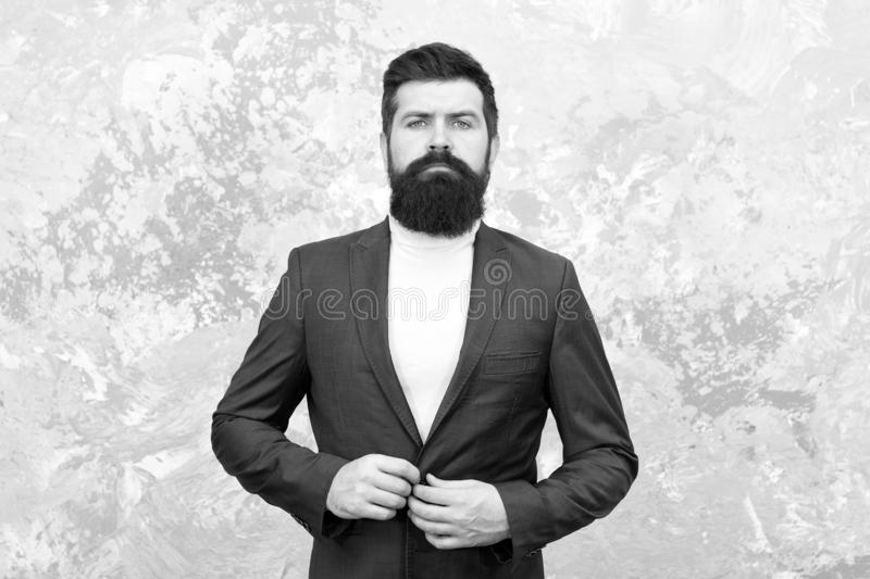 Confident in his new business. Tailor or fashion designer. Modern life. elegant man with beard. Brutal bearded hipster royalty free stock images