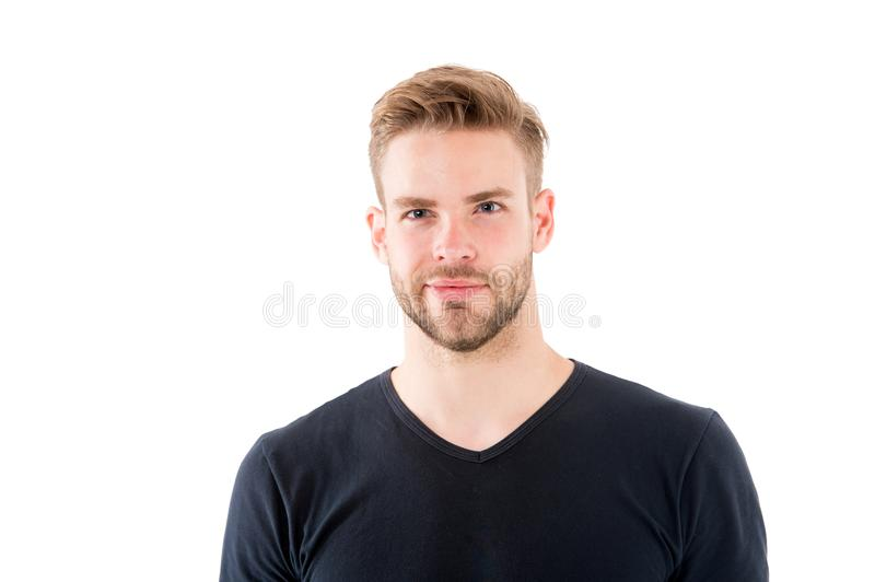 Confident in his perfectness. Man with bristle smiling face white background. Male beauty concept. Man with royalty free stock photos