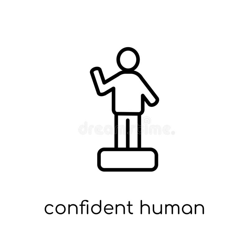 confident human icon. Trendy modern flat linear vector confident stock illustration