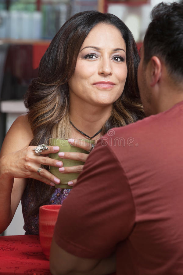 Download Confident Lady With Man In Cafe Stock Photo - Image: 28340072