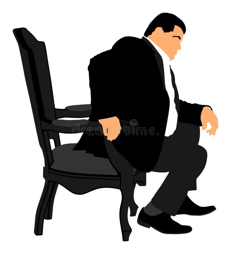 Confident leader, big mafia boss. Businessman sitting on work . Confident leader, big mafia boss. Businessman sitting on work illustration. Manager on meeting vector illustration