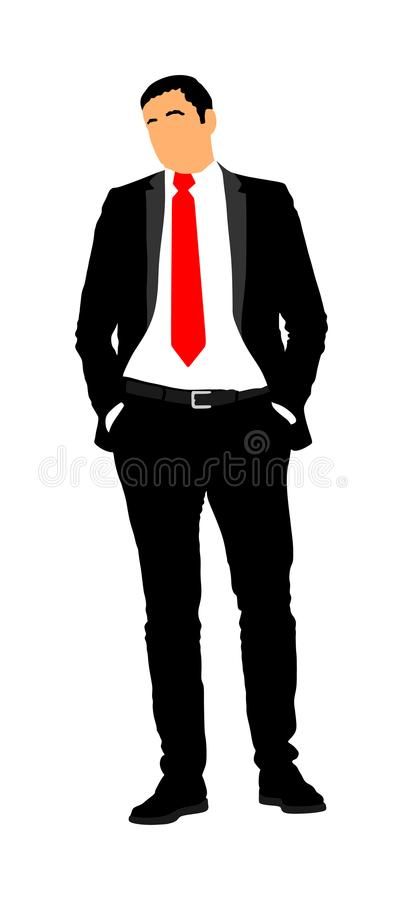 Confident leader standing. Businessman go to work illustration. Handsome man in black suite with hands in pockets. Standing casual pose. Relaxed man vector illustration