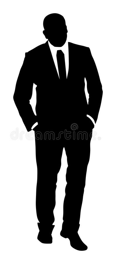 Confident leader standing. Businessman go to work silhouette. Confident leader standing. Businessman go to work silhouette illustration. Handsome man in suite stock illustration