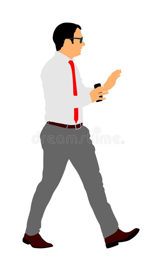 Confident leader walking. Businessman on work . Confident leader walking. Businessman on work illustration. Handsome man with mobile phone in hands in office stock illustration
