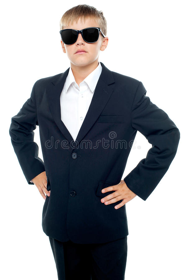 Download Confident Little Master Wearing Suit And Shades Stock Photo - Image: 27260954