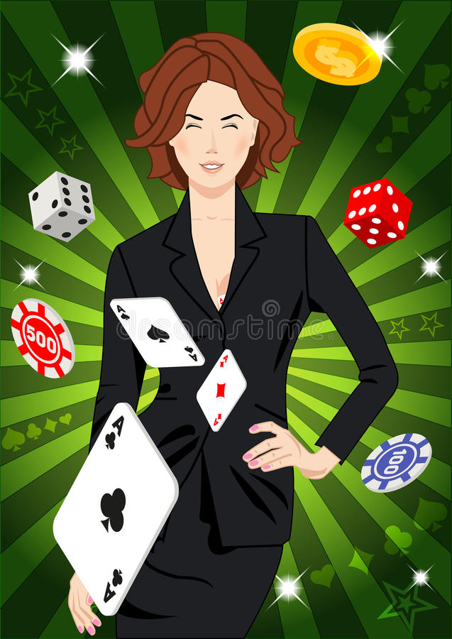 Confident lucky girl throws aces. Confident beautiful lucky girl throws aces. Design concept for gambling luck ans successful play. Use for print products, page stock illustration