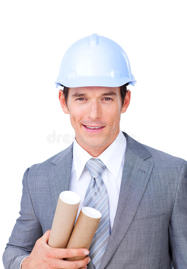 Confident male architect