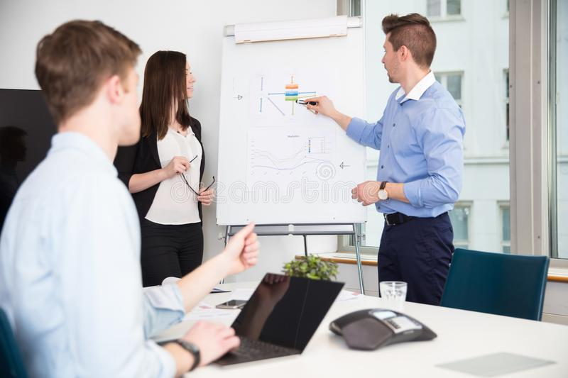 Executive Explaining Presentation To Colleagues In Office royalty free stock photography