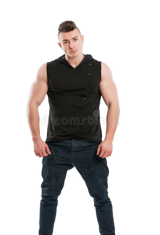 Confident male model wearing black hoodie and jeans royalty free stock photos