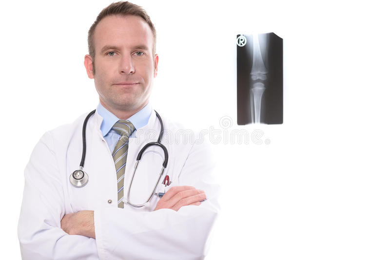 Confident male physician with folded arms royalty free stock photo