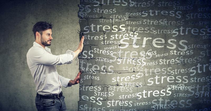 Confident man blocking negative emotions and stress royalty free stock photo