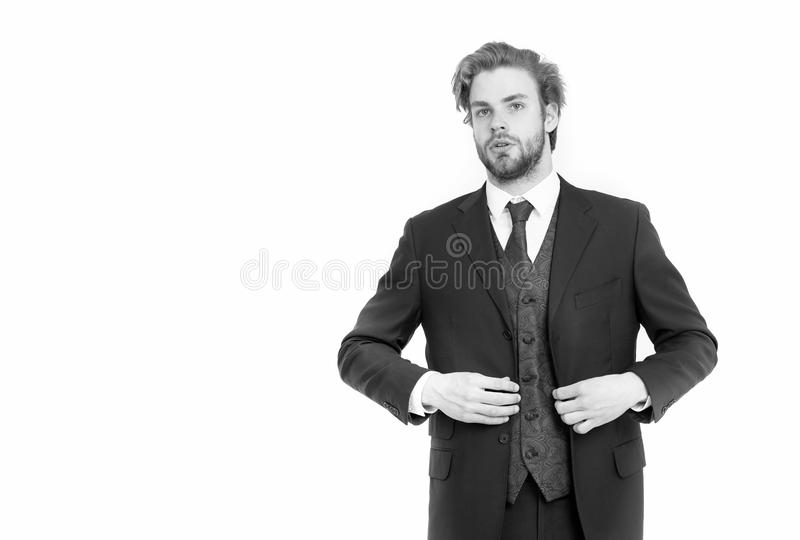 Fashion and beauty. Business and success. Businessman or ceo in black jacket. Man in formal outfit isolated on white royalty free stock photography