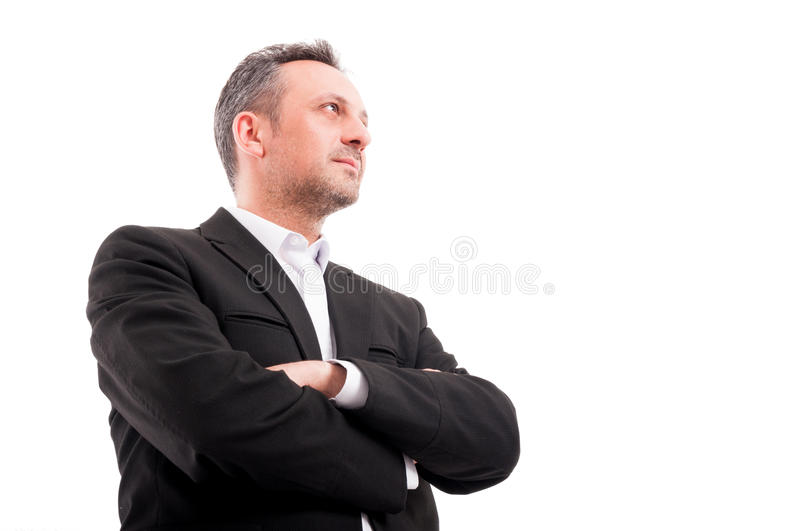 Confident man in formalwear keeping his arms crossed royalty free stock photos